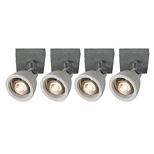 QAZQA Industrial Set de 4 focos CRETO 1 hormigón Piedra/cemento Redonda Adecuado...