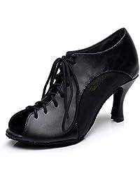 XIAOY Interior Zapatos de Baile Latino Mujer Tacon Alto Cuero PU Pescado Boca Encaje Cordones Size