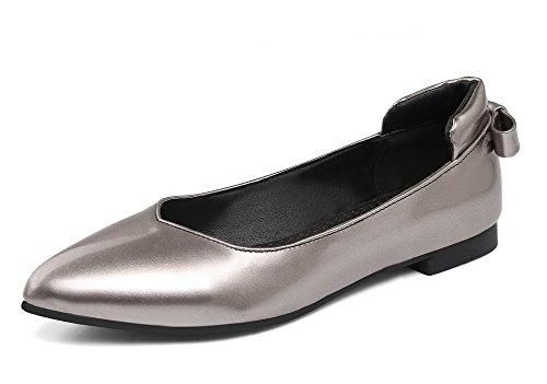 VogueZone009 Donna Scarpe A Punta Tacco Basso Luccichio Tirare Ballet-Flats Grigio
