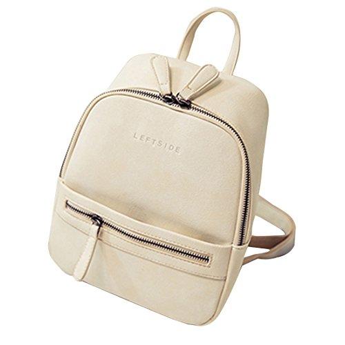 Minetom Damen Mädchen Casual Schulrucksäcke Einfarbig Reiserucksack PU Leder Schulter Mini Rucksack für Teens Jungen Studenten Beige Einheitsgröße (Mini-nylon-rucksack)