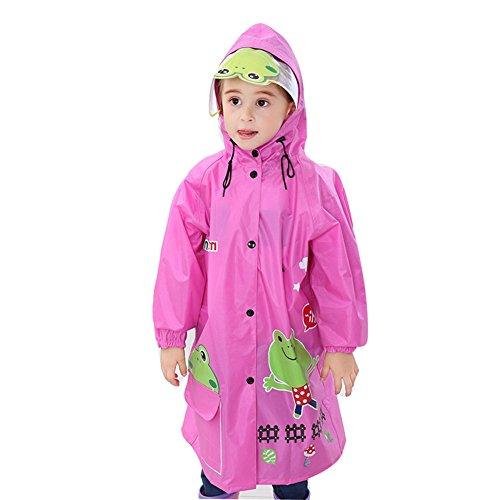 Kinder leichte Regenmantel Poncho mit Schultasche Position, wasserdichte Kapuze Jacke, große Hut Markise, Kind Regenkleidung Regenanzug Student, Kindergarten Jungen Mädchen, 90-170 cm, Pink, XL