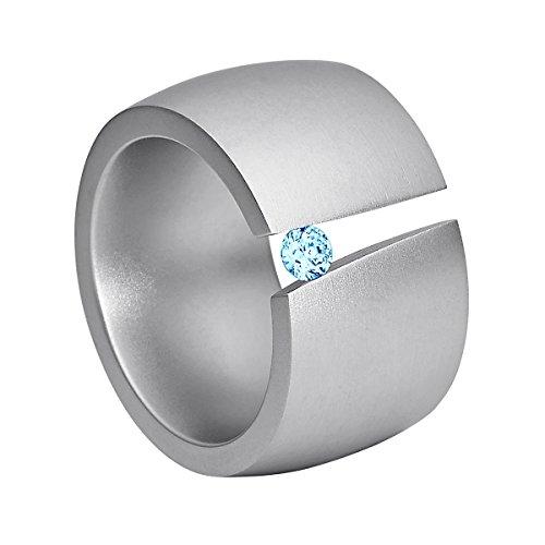 Heideman Ring Damen Aditus aus Edelstahl Silber farbend matt Damenring für Frauen mit Swarovski Stein Zirkonia blau im Brillant Schliff 3mm