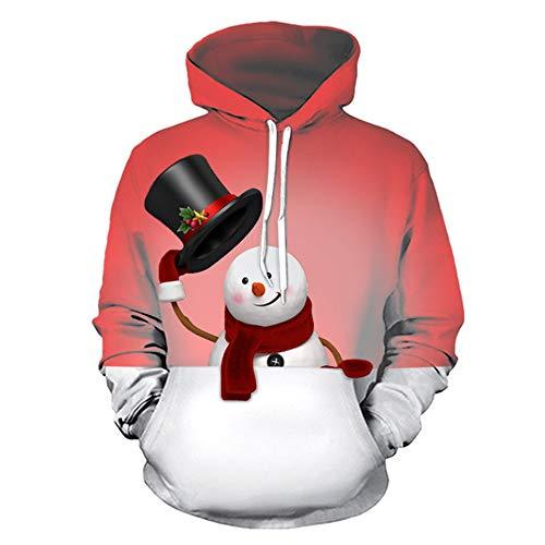 qulvyushangmaobu Männer Hoodie 3D gedruckt Lustige Hässliche Weihnachten Langarm Pullover Top mit Taschenbeleuchtung Lady Reindeer Santa Hund Katze Sweatshirt Pullover Elf Strick Warmer Pullover