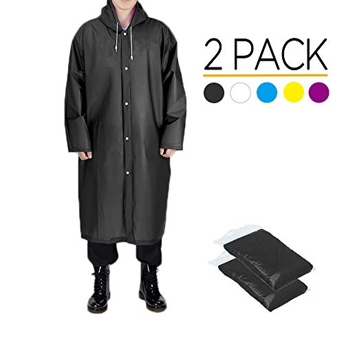 Opret Rain Poncho for Adults, Reusable Waterproof Raincoat with Hoods and Sleeves, Lightweight EVA Transparent Rainwear, 2 pack