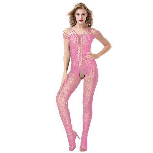 QWXTXN Große Größe Sexy Spitze aushöhlen Riemen Fischnetz Floral Mesh Bodystockings Bodysuit Dessous Frauen Offen Ouvert,Pink