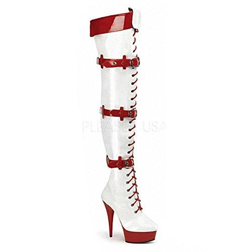 donne stivali lunghi lacci in pelle super tacchi alti sopra il ginocchio Nightclub Pole Dance Model Play performance scarpe, BLACK-45 WHITE-40