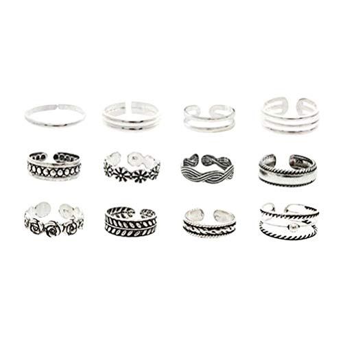 FENICAL 12PCS Unisex Anillos pie Moda Folk-Custom