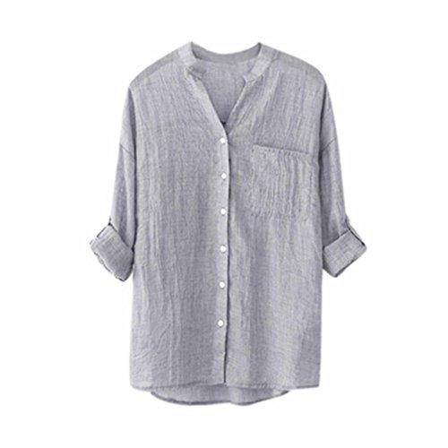 Yvelands 2018 Neue Sommer Damen Frauen Stehkragen Langarm Shirt Casual Bluse Button Down Tops Plus Größe (Langarm-shirt Daisy)