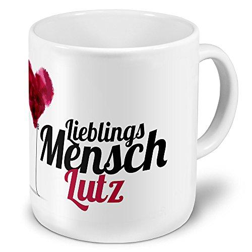 """XXL Riesen-Tasse mit Namen Lutz - Motiv \""""Lieblingsmensch\"""" - Namenstasse, Kaffeebecher, Becher, Mug"""