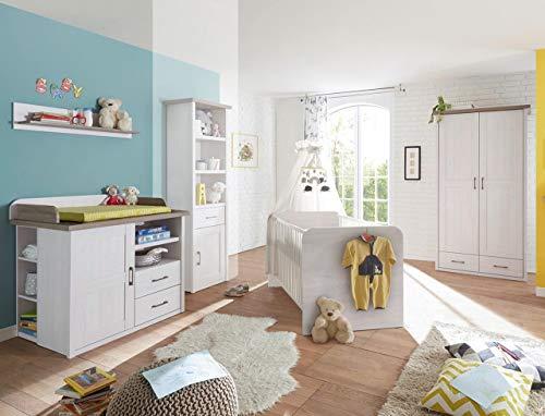 lifestyle4living Babyzimmer, Kinderzimmer, Komplett-Set, Babymöbel, Einrichtung, Junge, Mädchen, Kleiderschrank, Wickelkommode, Babybett, Pinie, weiß, Trüffel, braun