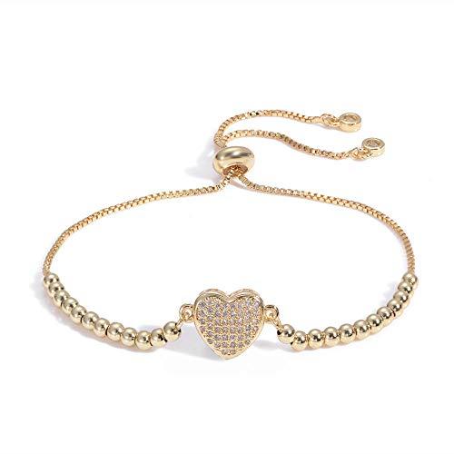 Jenny.Ben Neues Paar Sterling Silber Armband Micro-Set Diamant Herzform Mode Pull Armband@BZ018-G_20 cm Logo-pull