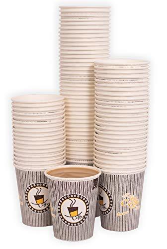 MGGI Trading 100 X 7oz Kaffeebecher 190 Ml Coffee-to-Go Papier Tassen Edles Design Pappbecher Papierbecher Für Cappuccino Latte Macchiato Milchkaffee Café