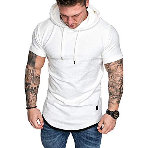 Luckycat Oversize T-Shirt Muscle Fit Slim Fit Fitness Herren Longshirt Herren Essential Solid Kurzarm Top Herren Pullover Kapuzenpullover Hoodie Sweatshirt -