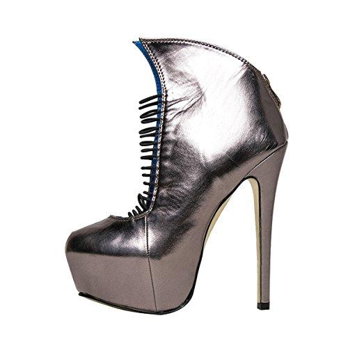 Onlymaker Damen High Heel Pumps Stiletto mit Plateau Rei?verschluss Silber