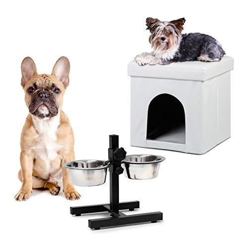 2 tlg Set Home Sweet Hund Deluxe M, Hundebox weiß, Sitzhocker mit Tierhöhle, Doppelnapf höhenverstellbar, Futterstation (Weißes Sitz-hocker-bar)