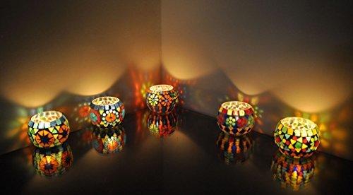 Lal Haveli mosaïque bougeoirs de Noël en verre Lot de 5