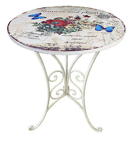 Unbekannt VARILANDO® Deko-Beistelltisch mit floralem Muster und Antik-Finish Metall-Tisch Deko-Tisch Kaffee-Tisch