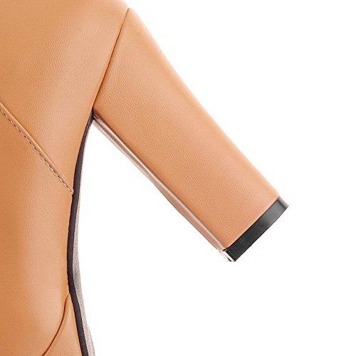VogueZone009 Damen Rein Hoher Absatz Rund Zehe Reißverschluss Stiefel mit Beschlagene Strass Braun