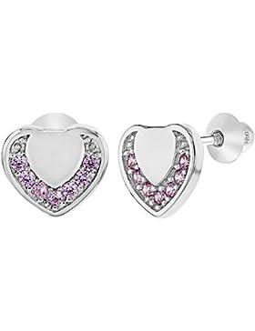 In Season Jewelry Kinder Mädchen - Schraubverschluss Ohrringe Herz 925 Sterling Silber Rosa CZ Zirkonia