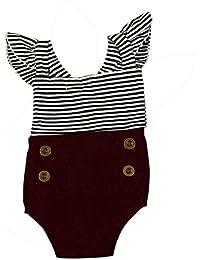 Vino Koly Bebé recién nacido Bebés rayado precioso manga de vuelo Romper