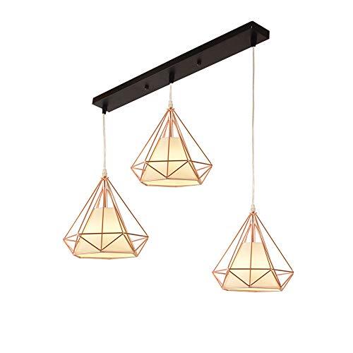 Anhänger Beleuchtung Vintage Polygon Draht Deckenleuchte, Rose Gold Verstellbar Kronleuchter Leuchte Für Kitchen Island, Wohnzimmer, Restaurants Art Decor (Design : 3-Lights) -