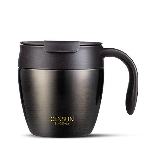 zdzdz 330ml Edelstahl Kaffee Becher Vakuum Isoliert Kaffee Tasse mit Deckel für Home Office Küche Schwarz