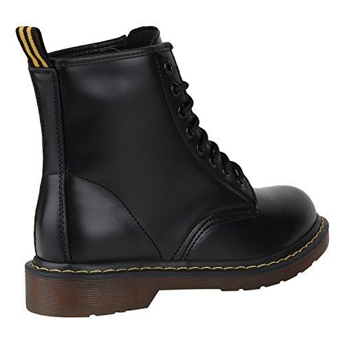 Stiefelparadies Damen Herren Kinder Unisex Stiefeletten Worker Boots Flandell Schwarz Brito