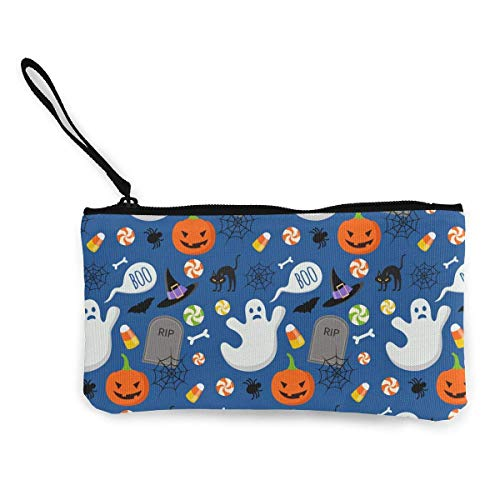 liangxiquguidaojiaotongshe Coin Purse Happy Halloween Funny Pattern Cute Travel Makeup Pencil Pen Case With Handle Cash Canvas Zipper Pouch 4.7