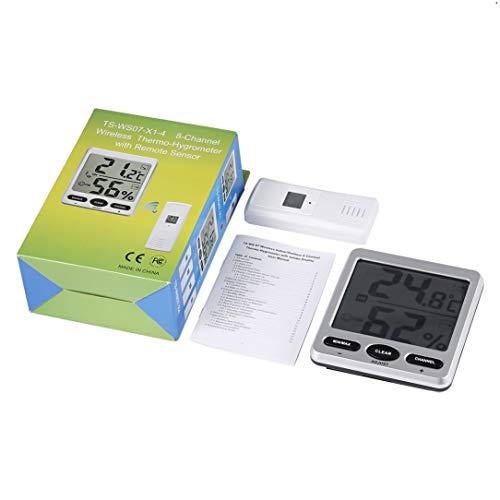 Monllack Indoor Outdoor Mini Max Dispaly Wetterstation 8-Kanal Wireless-Thermo-Hygrometer mit Jumbo-Display 3 Fernbedienungssensor