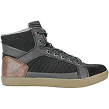 Petrol Industries High Top Sneakers Black - Pantuflas de caña alta de cuero hombre