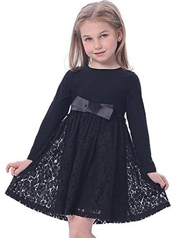 Bonny BillyMädchen Kleid beiläufige Satin Spitze mit Schwarz Bogen 100