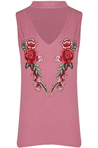 Be Jealous Damen Frauen Choker Hals Ärmellos Blumen Rose Stickerei Tank Weste T-Shirt Oben Rose