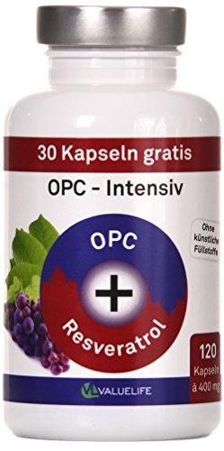 OPC Kapseln Intensiv: Traubenkernextrakt & Resveratrol. VERGLEICHSSIEGER 2017* Antioxidant Komplex hochdosiert. Ohne Zusatzstoffe. 120 vegane Kapseln. Geprüfte Markenqualität mit Zertifikat von Valuelife
