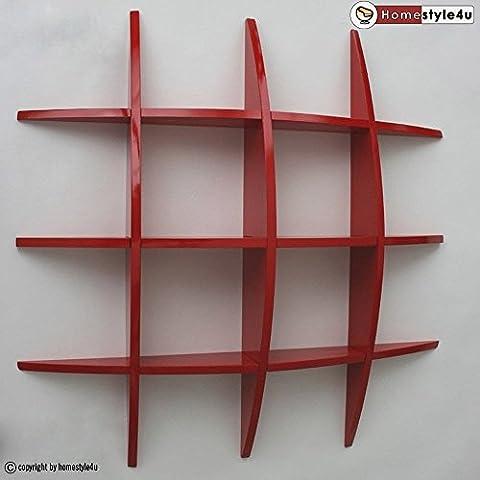 Homestyle4u Wandregal Wandboard Retro Cube Regal Bücherregal rot