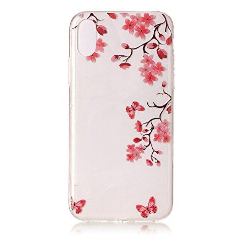 Custodia iPhone 8 Case Kcdream Fashion Moda Ultraslim TPU Transparent Caso Elegante Carina Souple Flessibile Morbido Silicone Copertura Perfetta Protezione Shell Paraurti Custodia Per iPhone 8 (5.8 Po Foglia di Acero Rosso