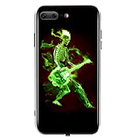 TEOYALL Case for iPhone 7/7s/8/8s Plus,Tempered Glass Back Cover,Guitar-Skull Ghost with Flame Luminous case,glow in the dark through sound