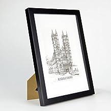 Marcos de Fotos A4 de MADERA SÓLIDA - para Foto / Certificado A4 - Paspartú para Foto 15x20 Incluida - Negro - REBAJA -¡Anchura del marco 2cm!