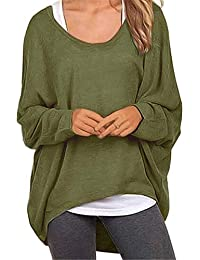Meyison Damen Lose Asymmetrisch Sweatshirt Pullover Bluse Oberteile  Oversized Tshirt Strickpullover 1a2fe65901