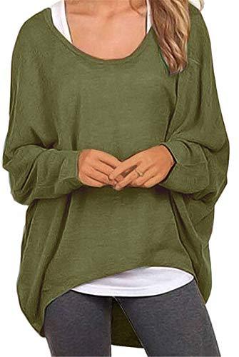Meyison Damen Lose Asymmetrisch Sweatshirt Pullover Bluse Oberteile Oversized Tops T-Shirt Armee Grün S Grüne Damen Pullover