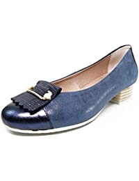 Zapato salón marca PITILLOS, piel grabada color azul marino, tacón y adorno flecos/metal - 1050 - 562 (37, azul marino)