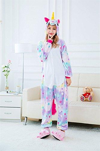 Einhorn Pyjamas Kostüm Jumpsuit Tier Schlafanzug Erwachsene Star Unicorn
