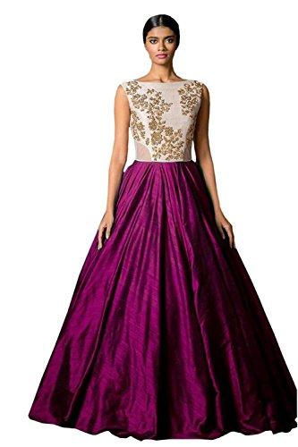 Jay Varudi Creation Women\'s Benglory Silk Gown ( majenta01_FreeSize )