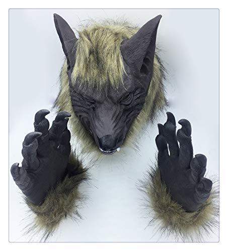 Gruselwolf Husky Hund Deutscher Schäferhund Maske Der König Kostüm Latex Dschungeltiere Kopf Werwolf mit Handschuhzubehör ()