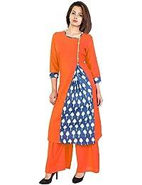 SVK Etail Cotton Straight Printed Round Neck Orange Women's With Palazzo Set (Pack Of 2) - B07D6KWZ72