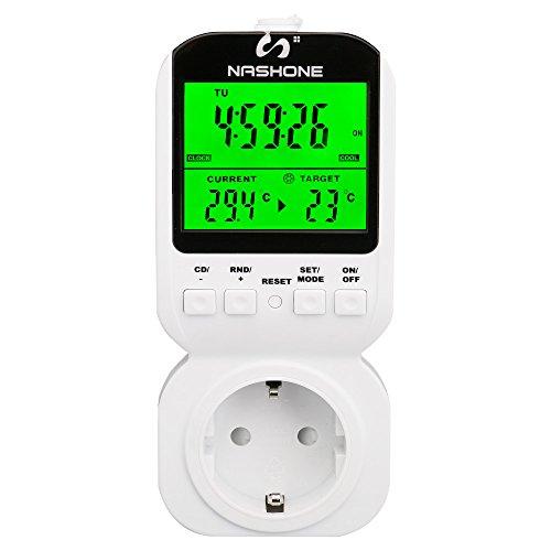NASHONE Digitaler Programmierbarer Thermostat steckdose 3680W Timer-Funktion stecker für Heizgeräte und Kühlvorrichtung - Programmierbare Sicherheits-licht-schalter