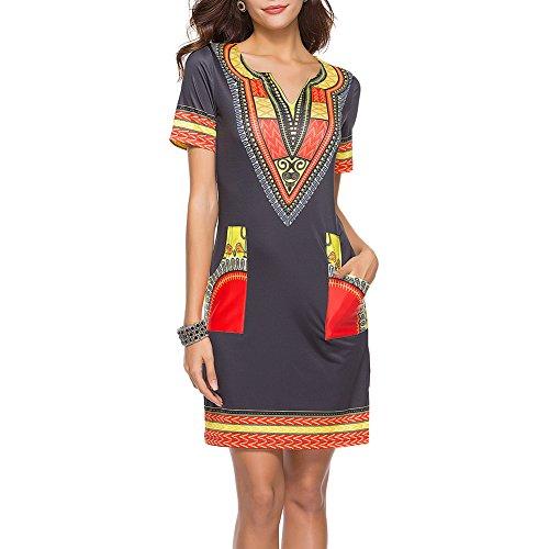 iBaste Damen Neue African Print Dashiki Kleid Bodycon Kurzarm Kleid mit Tasche
