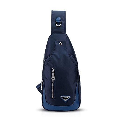FANDARE Unisexe Sac de Poitrine Sacoche Homme/Femme Bandouliere Sac Bandouliere, Sac a Dos pour Marcher, de Voyager, Cycling Sling Bag Imperméable Polyester Bleu