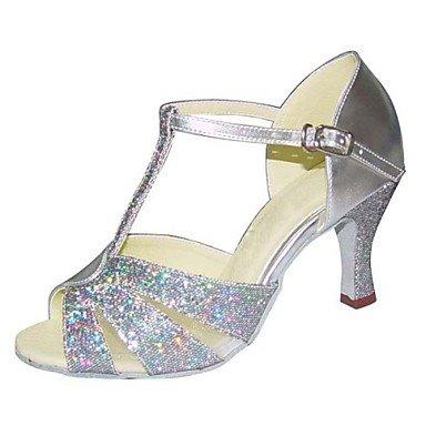 Silence @ Swing de chaussures de danse pour femme Latin/Salsa/Samba en similicuir/tissu Stiletto Talon Noir/argent/doré Silver