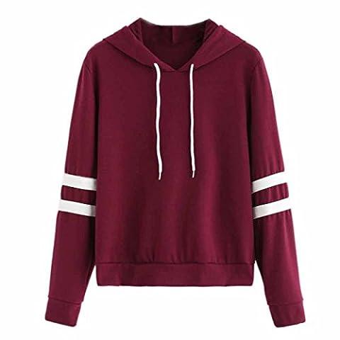 Women's Long Sleeve Hooded Sweatshirt Mingfa Striped Drawstring Jumper Hoodie Pullover Tops Blouse