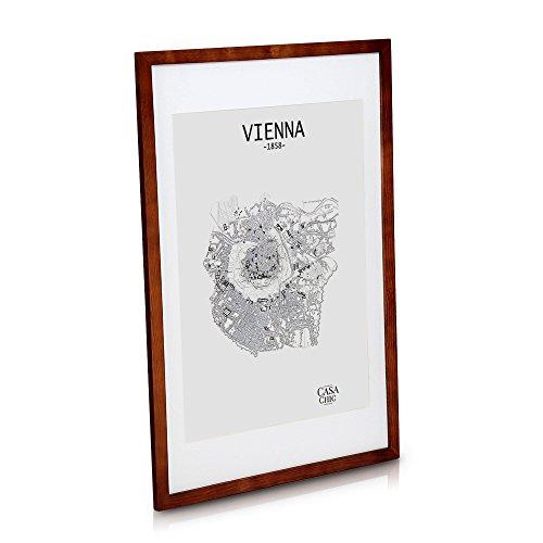Echtholz Posterrahmen (61x91,5 cm) - Rustikales Braun - Bilderrahmen mit 50x70 cm Passepartout und Front aus Plexiglas - Rahmenbreite 2 cm